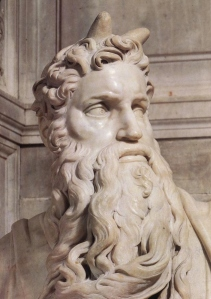 Detail of Moses (circa 1513–1515) by the Italian High Renaissance artist Michelangelo Buonarroti, housed in the Church of San Pietro in Vincoli in Rome