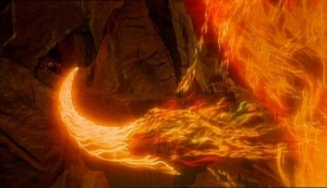"Scene from De Mille's The Ten Commandments in which the fire of God burns the commandments into the mountainside, then carves them out into two stone tablets. When the commandments are finished, Moses cautiously approaches the tablets, proclaiming that they were ""written with the finger of God."""