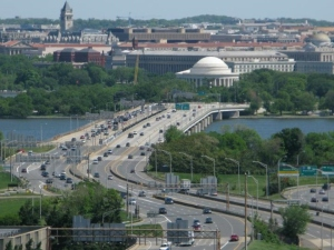 A view of the 14th Street Bridge looking toward Washington, DC from Virginia
