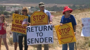 Protesters at Murrieta, Californis
