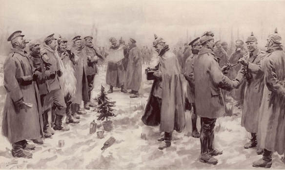 "From The Illustrated London News of 9 January 1915: ""British and German Soldiers Arm-in-Arm Exchanging Headgear: A Christmas Truce between Opposing Trenches"""