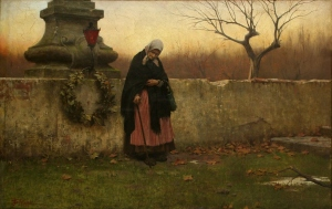All Souls' Day by Jakub Schikaneder, 1888. The painting shows an elderly woman after placing a wreath upon the tombstone of her loved one.